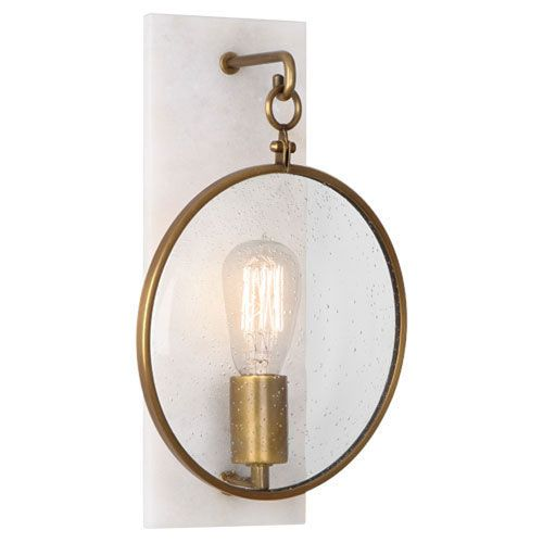 fineas alabaster and aged brass onelight sconce