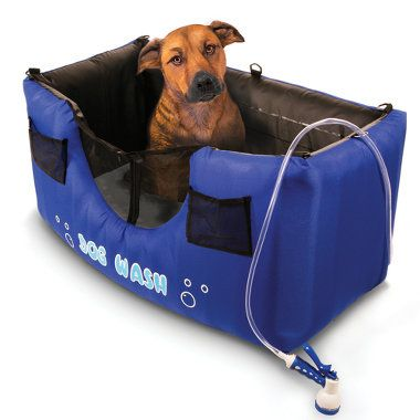 """The Only Inflatable Dog Shower.   DescriptionLifetime Guarantee.This is the only dog shower that inflates in five minutes for easy set up and folds to only 24"""" x 14"""" for unobtrusive storage. The unit has a handheld showerhead that emits water at 7 different levels from a gentle, soothing mist to a vigorous stream that penetrates even the thickest coats to clean pet hair and remove dead skin cells."""