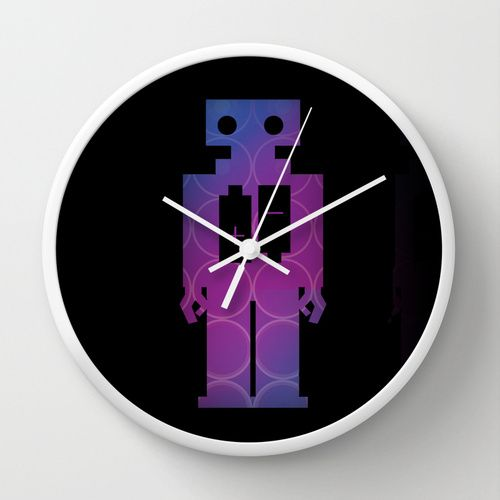 Robots Wall Clock by Scar Design | Society6