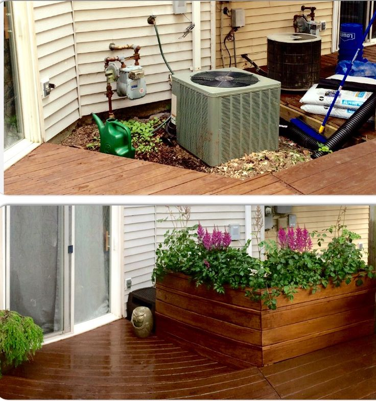 ac unit cover up with large planter stained with walnut semi