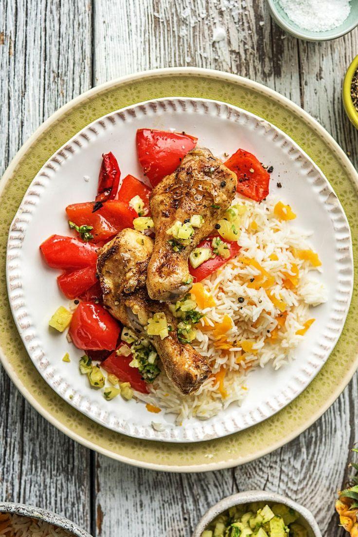 Step by Step Rezept: Jamaikanische Hähnchenschenkel mit Karottenreis und feuriger Ananas-Jalapeño-Salsa  35 Minuten / Exotisch / Reis / Gesund / Scharf / Kochen   #hellofreshde #kochen #diy #rezept