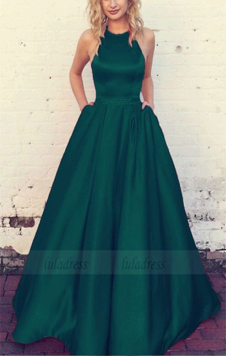 Emerald Green Prom Dresses Halter Satin Ball Gowns,BW97389