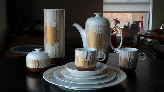 """Coffee set, decor """"Manipur"""", form """"Duo"""" (Victor Vasarely and Ambrogio Pozzi for Rosenthal, 1979)"""