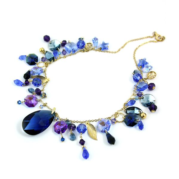 """Arabian Nights"" necklace made of gilded silver and Swarovski crystals. Profusion of shades of blue and perfectly cut shining crystals. Absolutely astonishing. Diuu"