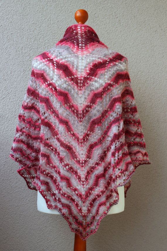 red and gray shawl striped shawl triangle wrap handknit shawl