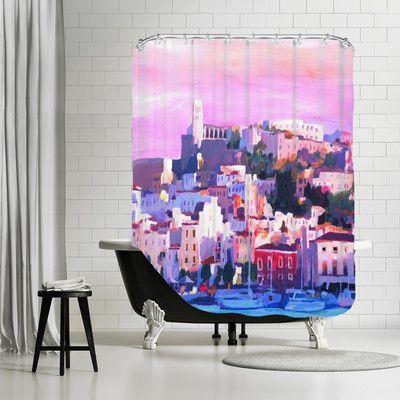 Brayden Studio Markus Bleichner Mattoon Ibiza Old Town and Harbour Pearl of the Mediterranean Shower Curtain