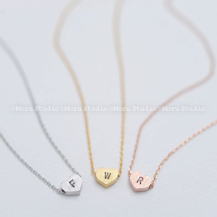 Mother's Day Initial Heart Necklace/ Bridesmaid Heart Necklace, Silver, Rose gold Heart, Shop Minimalist Delicate Small Heart Pendant NHT044 by MoruStudio on Etsy