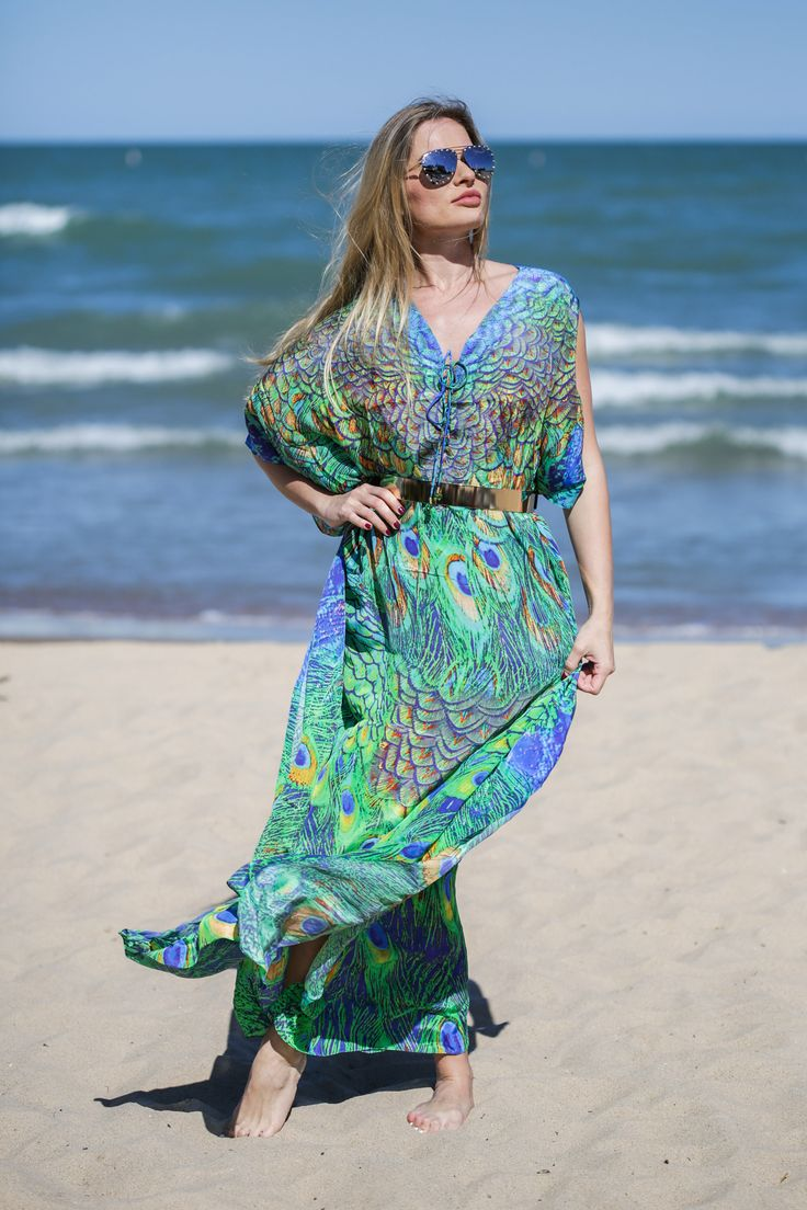 Palawan long kaftan, Pure silk, Green peacock, Crystal embellished, Digitally printed, Beach kaftan, Boho style, One size by LuvZunResortwear on Etsy https://www.etsy.com/listing/558768600/palawan-long-kaftan-pure-silk-green