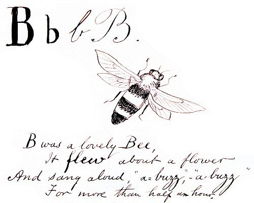 B was a lovely bee, it flew about a flower..., by Edward Lear. England, late 19th century