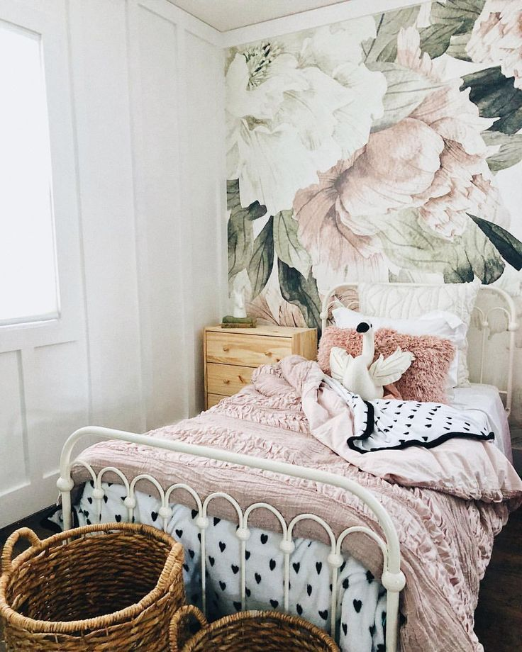 Gorgeous Girls Room With Floral Wallpaper And White Iron Bed
