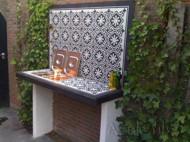 Cement Tiles Furniture - Negra 01 + Border + Corner - Project van Designtegels.nl