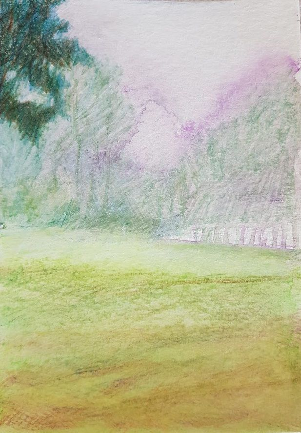 Aquarelle pencil watercolour original painting on paper 'Land drowned in mist and silence' by JoDalgetyArt on Etsy