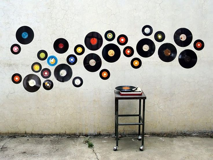 decoracin de pared con discos de vinilo reciclaje