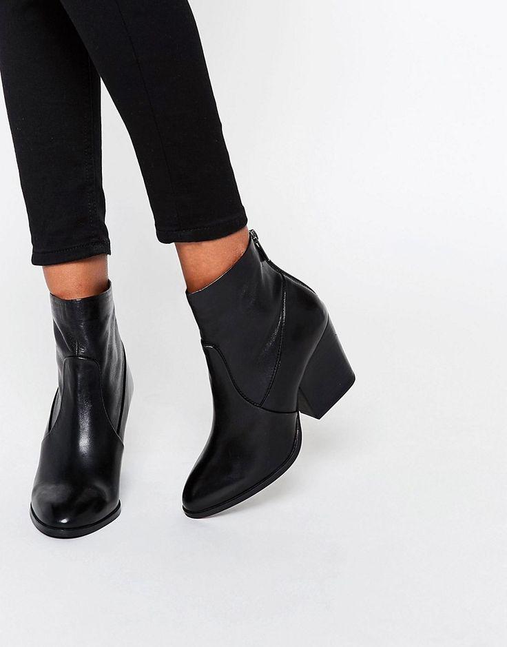 Image 1 ofASOS RAYA Leather Heeled Sock Boots