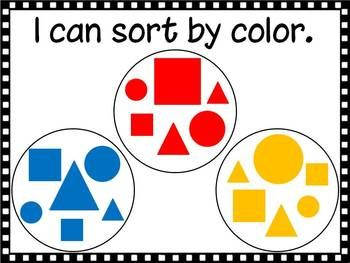 "Here's a set of ""I can"" posters for sorting by color, shape and size."