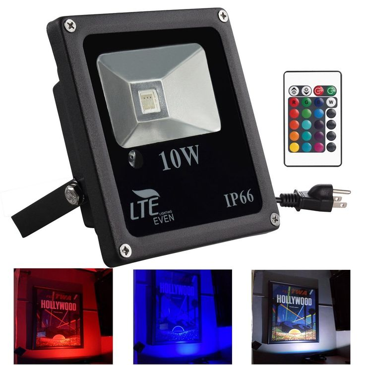 LTE 10W Remote Control RGB LED Flood Lights, IP66 Waterproof, Color Changing Security Light, 16 Different Colors, US 3-Plug, Landscape Lights, Wall Light - - Amazon.com
