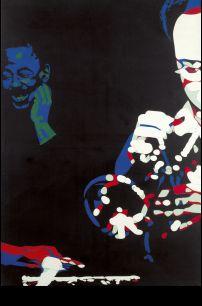 Bernard Rancillac (Né en 1931)     CHEZ MC GREGOR, 1974 Acrylique sur toile  Signée, titrée et datée au dos 130 x 89 cm