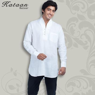 Plain White Linen Kurti