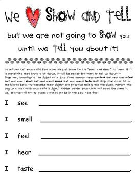 Show and Tell with the Five Senses - Alexis Moore - TeachersPayTeachers.com