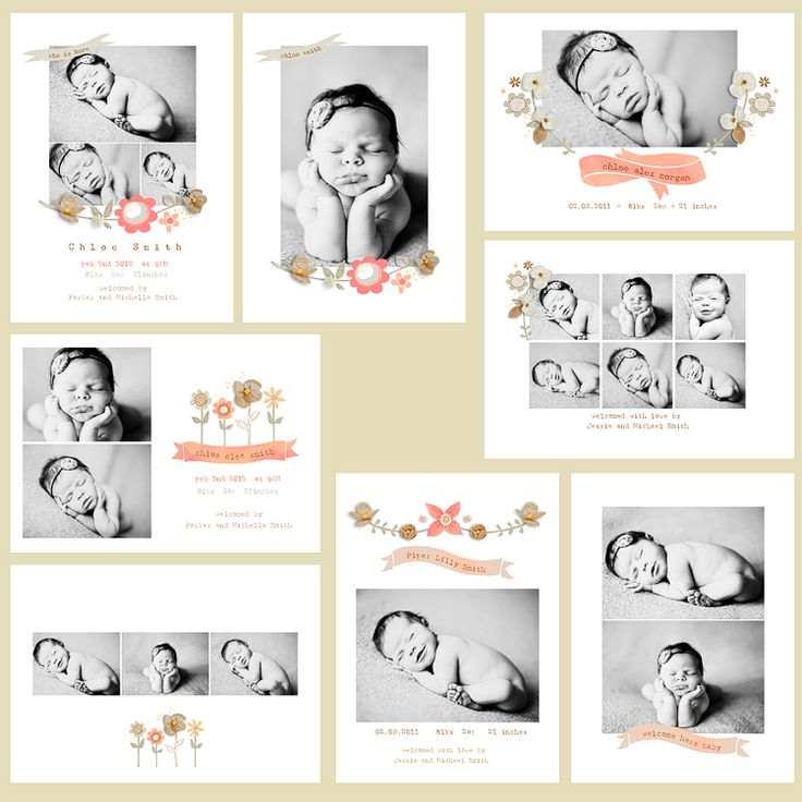 Natural Beauty 5x7 WHCC Birth Announcements