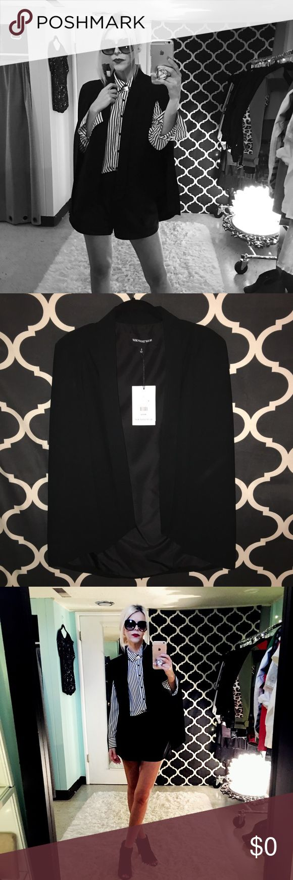 Who What Wear Cape Blazer Who What Wear Black Cape Blazer. New with tag attached. Amazing quality! Fully lined. You won't be disappointed. Who What Wear Jackets & Coats Capes