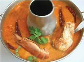 Tom Yum Koong Nang Soup (Prawn) :Giant shrimp in hot & sour soup with exotic Thai herb & lime juice, and chili paste from Pattaya Bay Restaurant in Los Angeles #Food #Soup #Restaurant forked.com