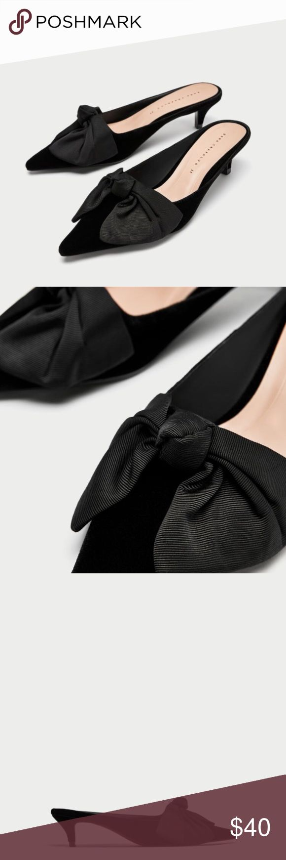 "Mules with Bow Mules with Bow   • 1.6"" Heel height  • Easy slip on w/ kitten Heel  📬  - Orders ship w/in 24- 48 hrs. Monday - Friday.  - Orders placed on weekends/holidays ship next business day.   Bundle 3 or more items for Private Offer Discount 😉 Zara Shoes Mules & Clogs"
