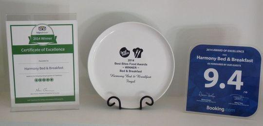 Accommodation Awards | Harmony Bed & Breakfast