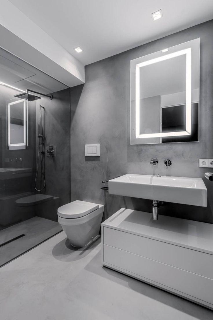 Cute moderner Bad Spiegel mit LED Beleuchtung in Grau und Wei