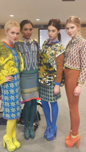 Thea Sanders collection backstage at Fashion Knitwear & Knitted Textile Design show.