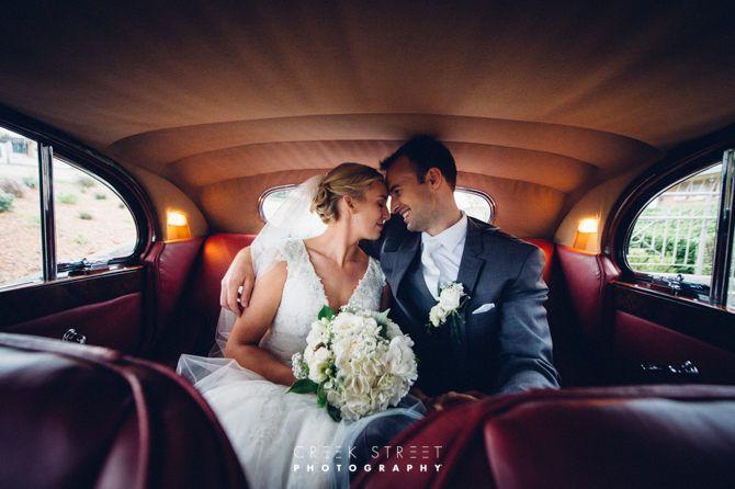 Gabby & Chris in Wedding Car at Mona Vale Golf Club #chrisandgab #weddingcar #brideandgroom