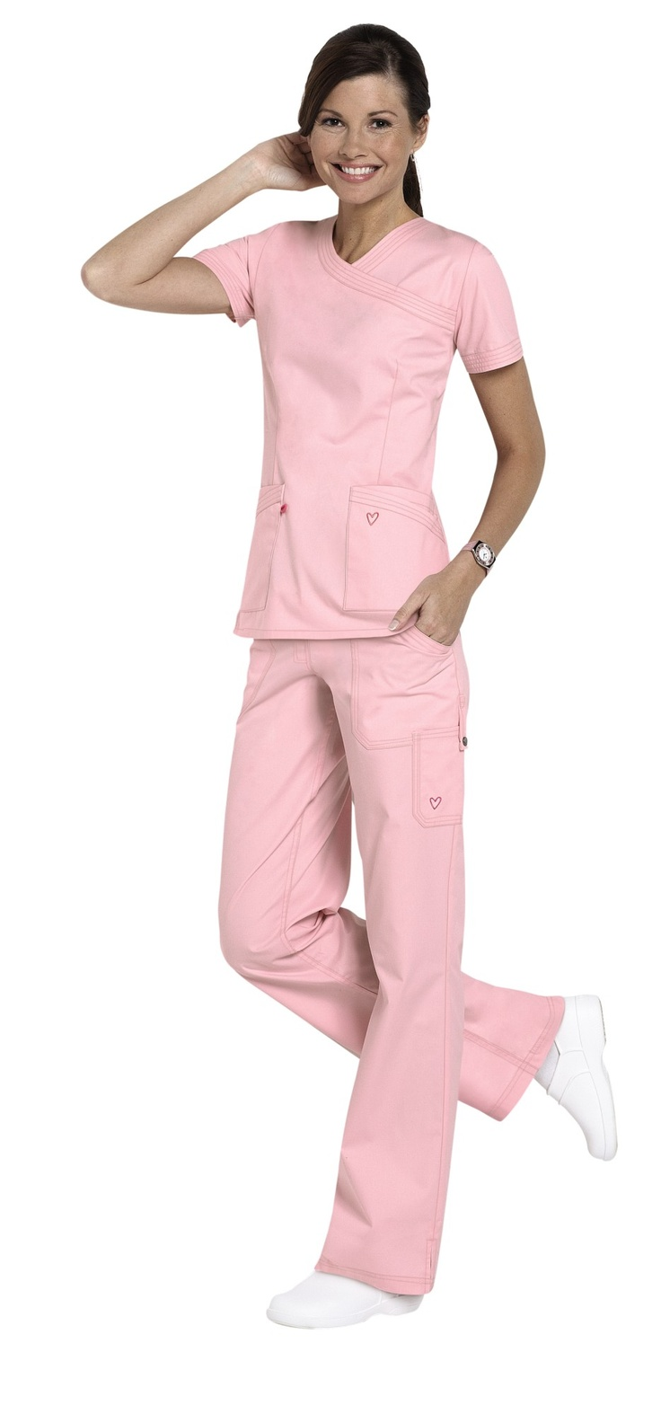 Landau Twill Collection mock-wrap scrub top and the paints are a great look