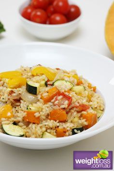 Roast Vegetable Risotto. #HealthyRecipes #DietRecipes #WeightLoss #WeightlossRecipes weightloss.com.au