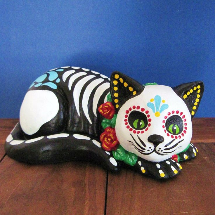 Day of the Dead CAT SKELETON Kitty Altar Statue Pet Memorial - CUSTOM Choose Your Own Colors. $60.00, via Etsy.