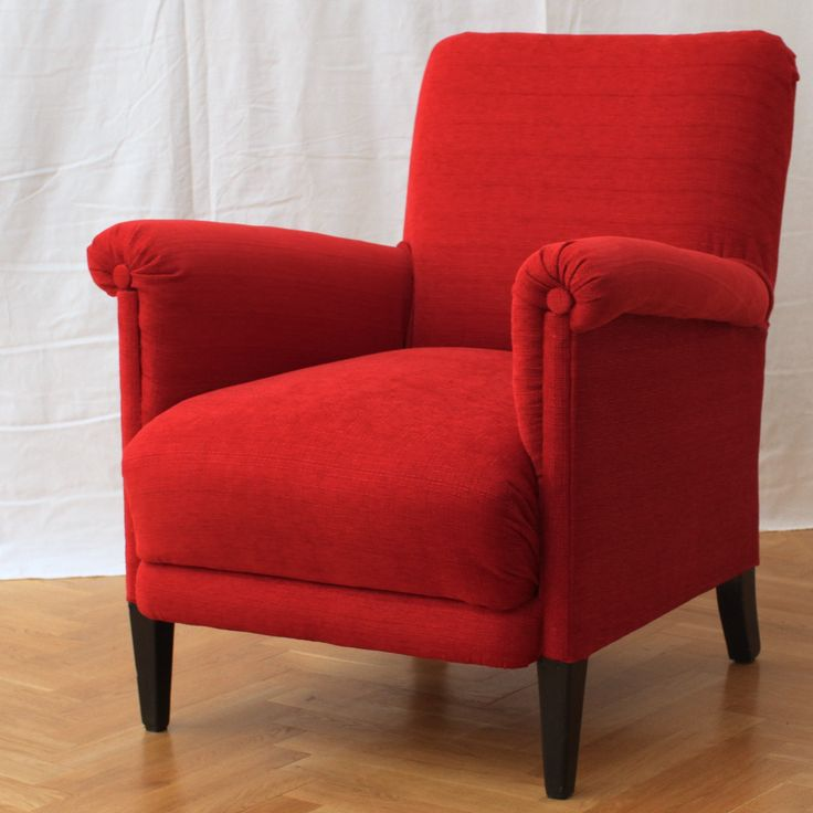 Elegant Red Armchair Probably From The 1940u0027s. Reupholstered And For Sale.