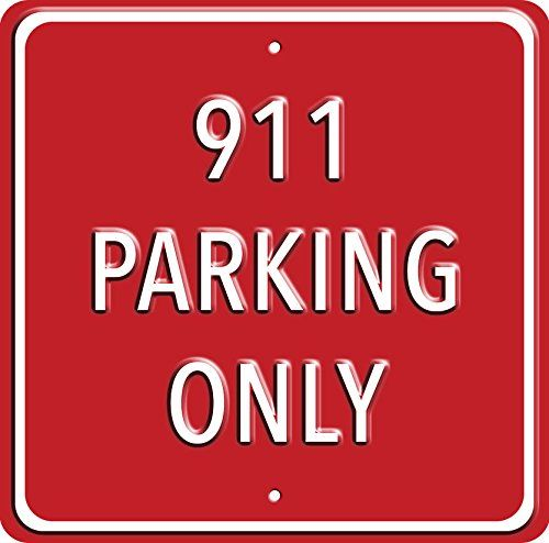 """""""911 Parking Only"""". Heavy Duty Wall Sign. A great gift or present for Porsche car owners. Red Hot Lemon http://www.amazon.co.uk/dp/B00TFY3DRO/ref=cm_sw_r_pi_dp_UHK2ub1BCCFER"""