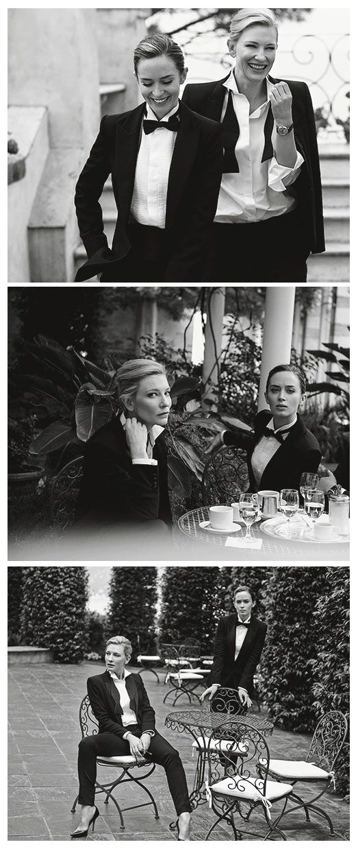 Emily Blunt and Cate Blanchett, photographed by Peter Lindbergh for IWC Schaffhausen (2014)