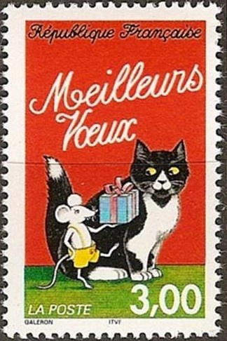 "timbre de France - 1997. chat avec une petite souris ""Meilleurs voeux"". 3,00 is in Francs not in Euros. French stamp with a best wishes on it illustrated by a mouse carrying a present, with a large cat at its side..."