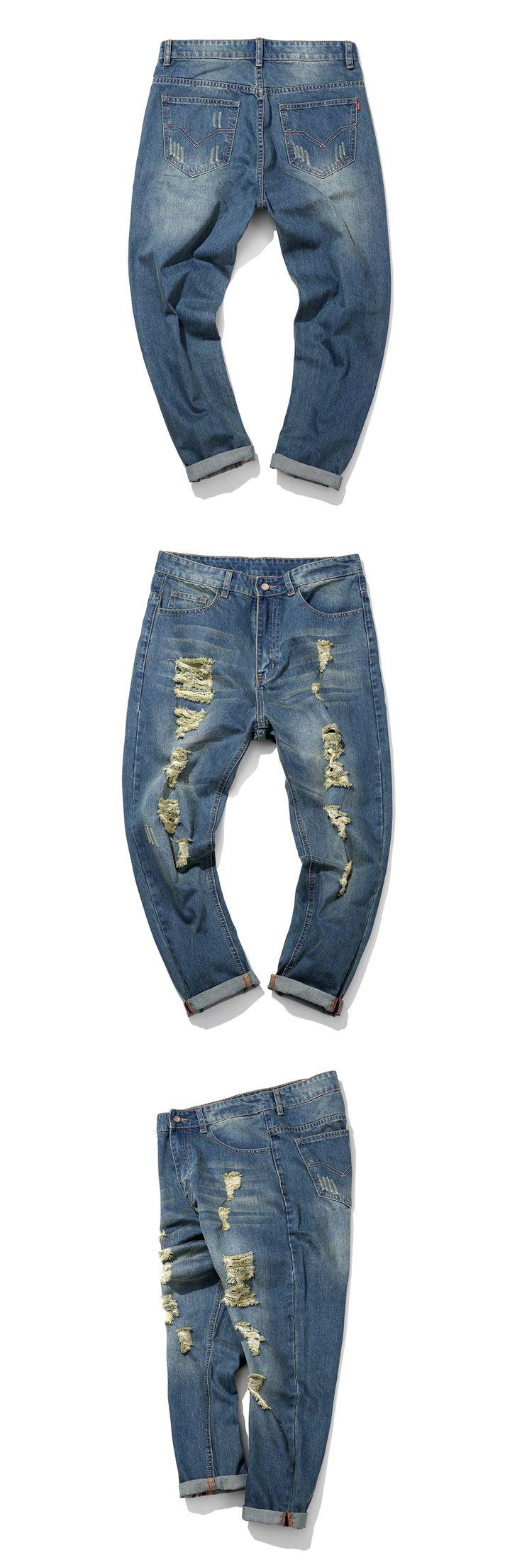 2016 Men Jeans Straight tube nostalgia hole Designer Jeans Mens  Harem Jeans Men Skinny Jeans Homme