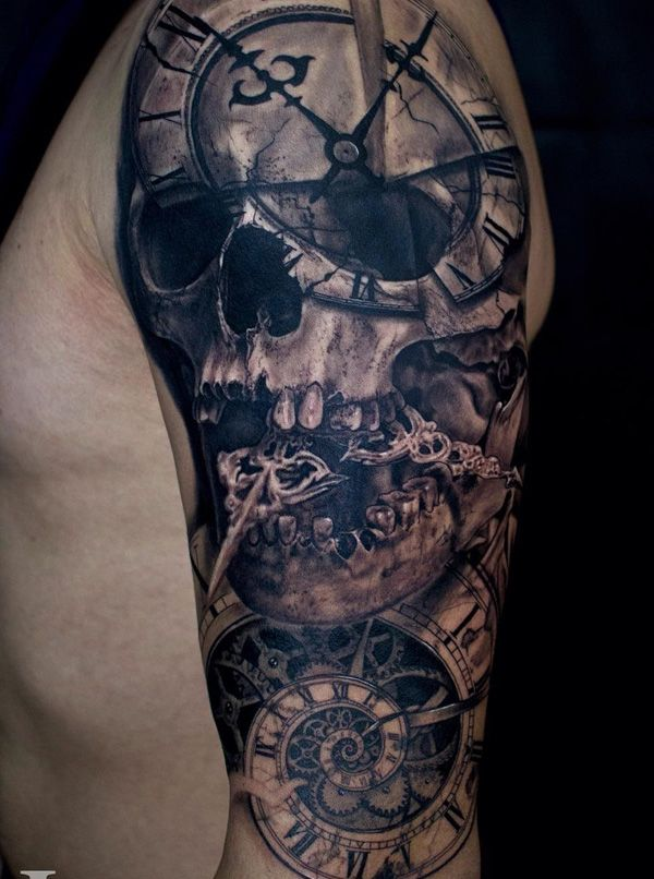 Beautiful skill inspired sleeve tattoo. The skull is also formed with the help of a series of clocks and clock hands that are also seen protruding from the skulls mouth.