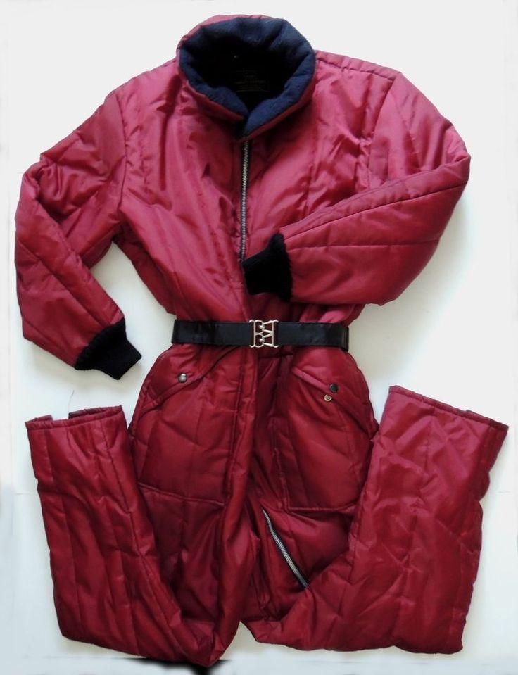 Sears Work'n Leisure Nylon Snowsuit Mens 46R Maroon Insulated Coveralls Vtg USA  #SEARS