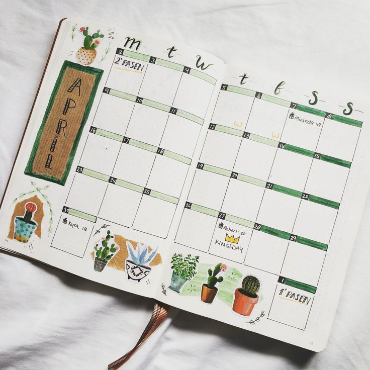 Donna Muench.by.marieke Bullet journal monthly spread cacti cactus stickers mont…