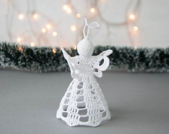 Gehaakte kerst engel kerstboom decoratie witte engel Kerstdecoratie Kerst ornamenten Winter bruiloft decor wit home decor