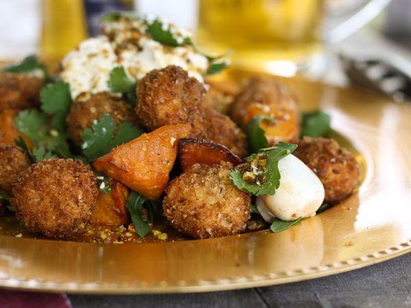 Crispy, crunchy button mushrooms and roast sweet potato salad. #australian #food