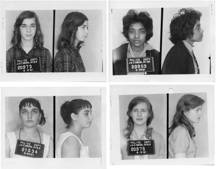 partial smile on these mug shots from civil rights activists. 1961 Mississippi Freedom Riders.