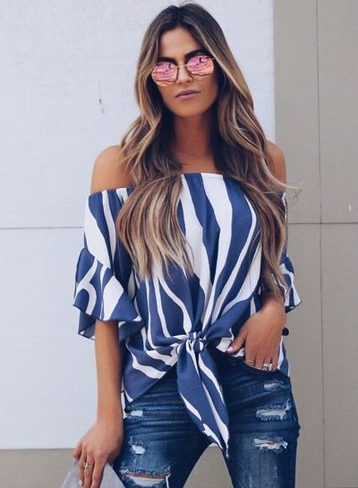81e66d680155c Chellysun Off The Shoulder Tops Blouse How to wear off shoulder top outfit  DIY pattern cheker boho summer plus size hacks Fashion Sexy Loose Striped  Flare ...