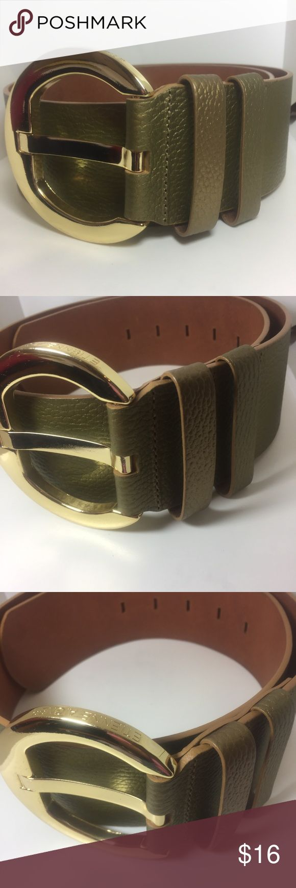 "Etienne Aigner Green Gold Leather Wide Obi Belt Etienne Aigner Green Gold Leather Wide Obi Belt  • Sz Medium  • Shiny gold buckle with the brand imprinted ( 3.5"" wide) • 31""-35"" when buckled  • 19"" total length • 2.5"" wide • The buckle has a few scratches, otherwise the belt is in very good condition. No wear to the holes, the belt looks like it has never been worn Etienne Aigner Accessories Belts"