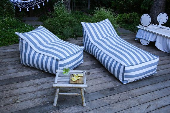 Outdoor Bean Bag Gray And White Stripes Pouf Chair Outdoor Furniture Pouf Cover Floor Pillow Floor Cushion Outdoor Bean Bag Pouf Chair Outdoor Furniture