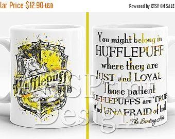 Anniversaire 20 % de réduction Harry Potter Poufsouffle Crest devis Mug blason Poufsouffle aquarelle Art tasse une tasse de café thé Mug anniversaire cadeau cadeau de Noël