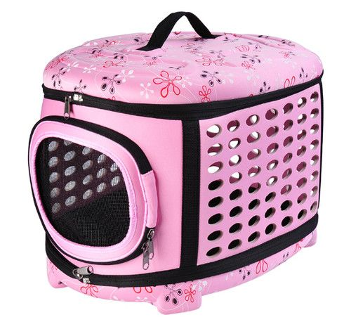 pawhut soft sided collapsible pet dog cat travel crate carrier tote bag pink - Soft Dog Crates